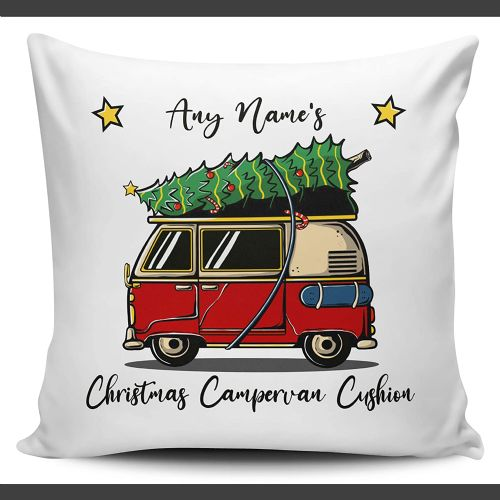 Personalised Any Name's Christmas Campervan Festive Novelty Cushion Cover